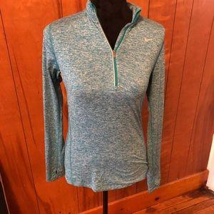 Nike green dri-fit running long sleeve shirt